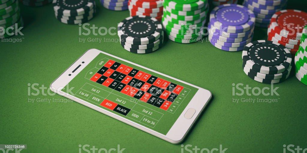 Casino-Chips und Smartphone auf grünem Filz. 3D illustration – Foto