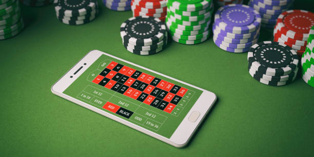 Casino chips and smartphone on green felt. 3d illustration Online casino concept. Chips and smartphone on green felt background. 3d illustration game of chance stock pictures, royalty-free photos & images