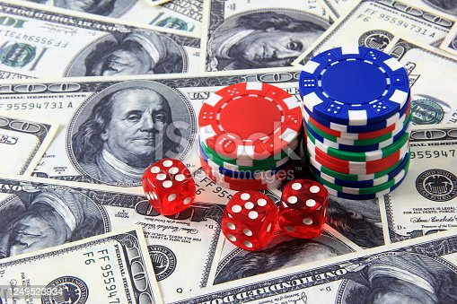 Casino chips, dice and money