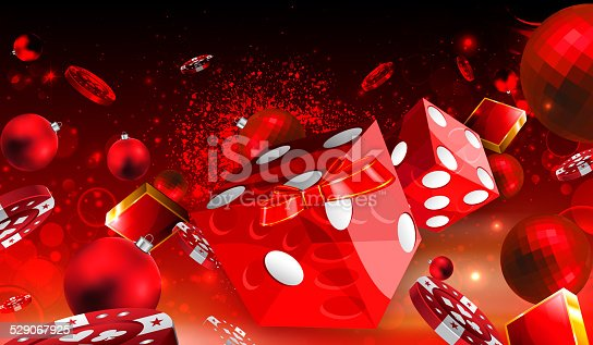 istock Casino Christmas dice and red balls floating illustration 529067925