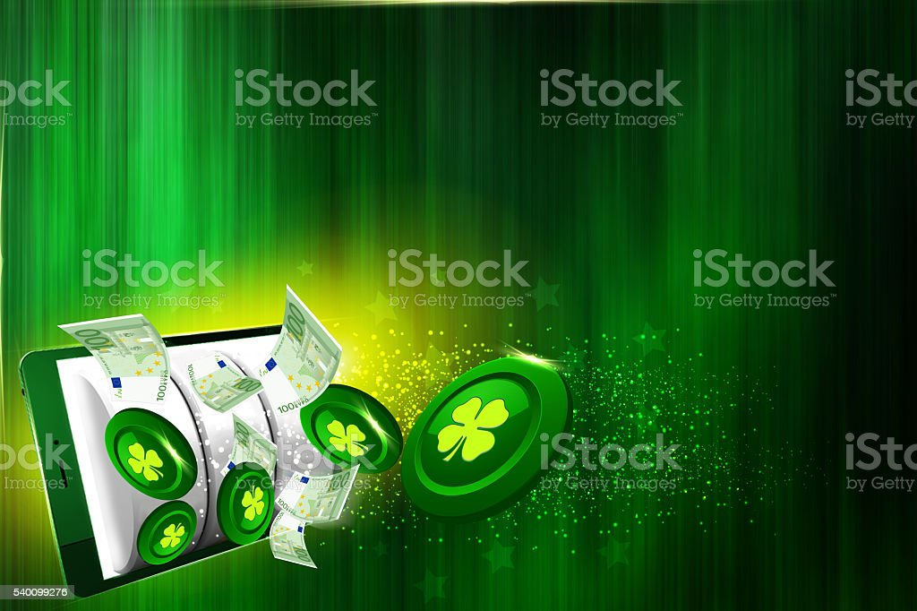 Casino coins falling out of the tablet stock photo