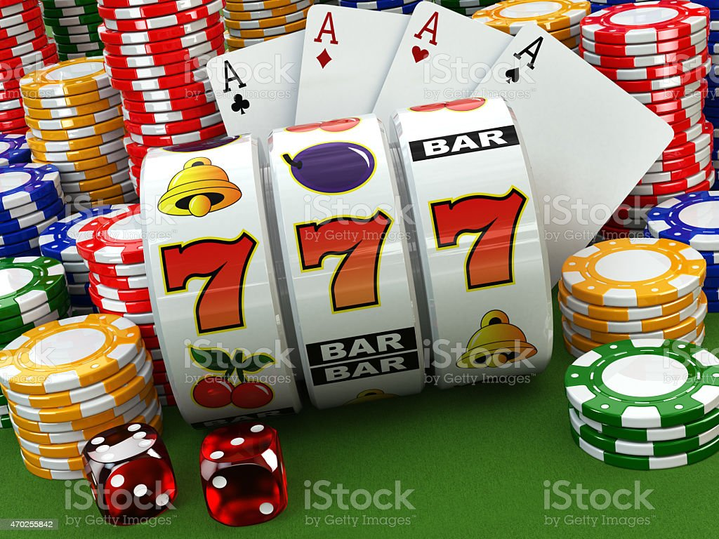 Casino concept. Jackpot. Poker cards, chips and dice. stock photo