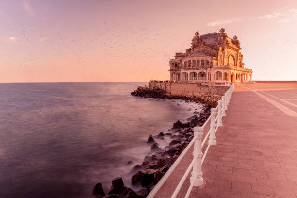 Casino Constanta at sunset stock photo