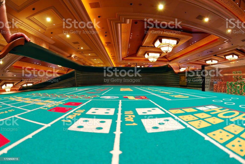 A craps table at a luxurious Las Vegas casino.