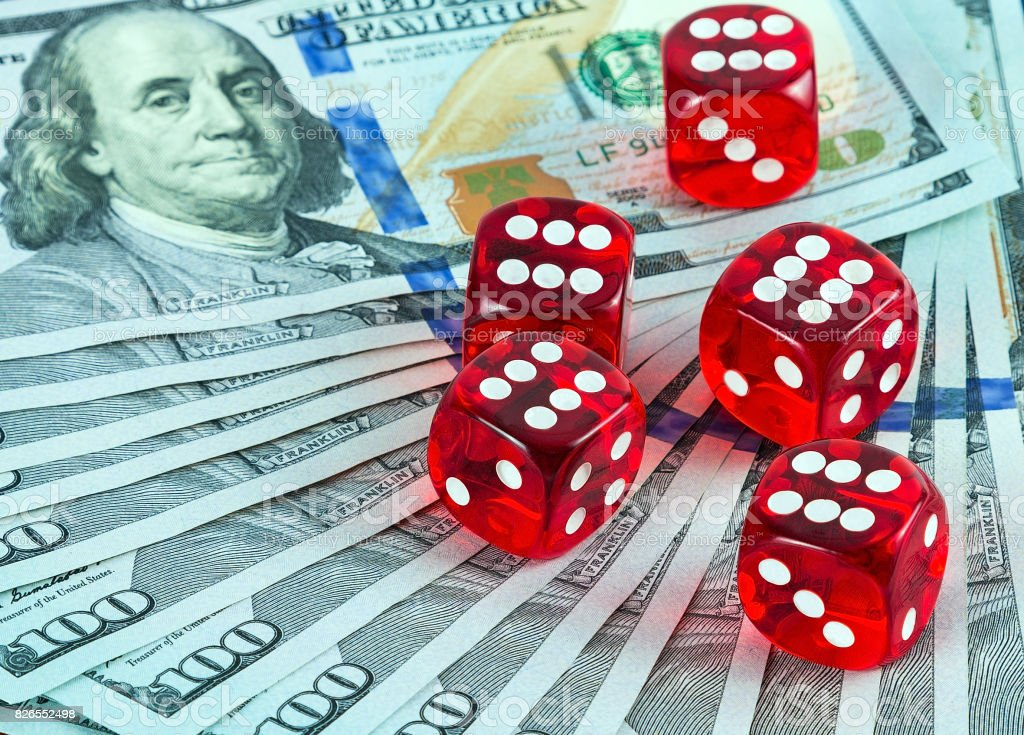 Casino dices US Currency stock photo