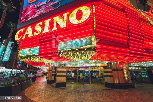 A huge illuminated casino entrance sign on the Fremont Street promenade Las Vegas, Navada. The Fremont Street promenade