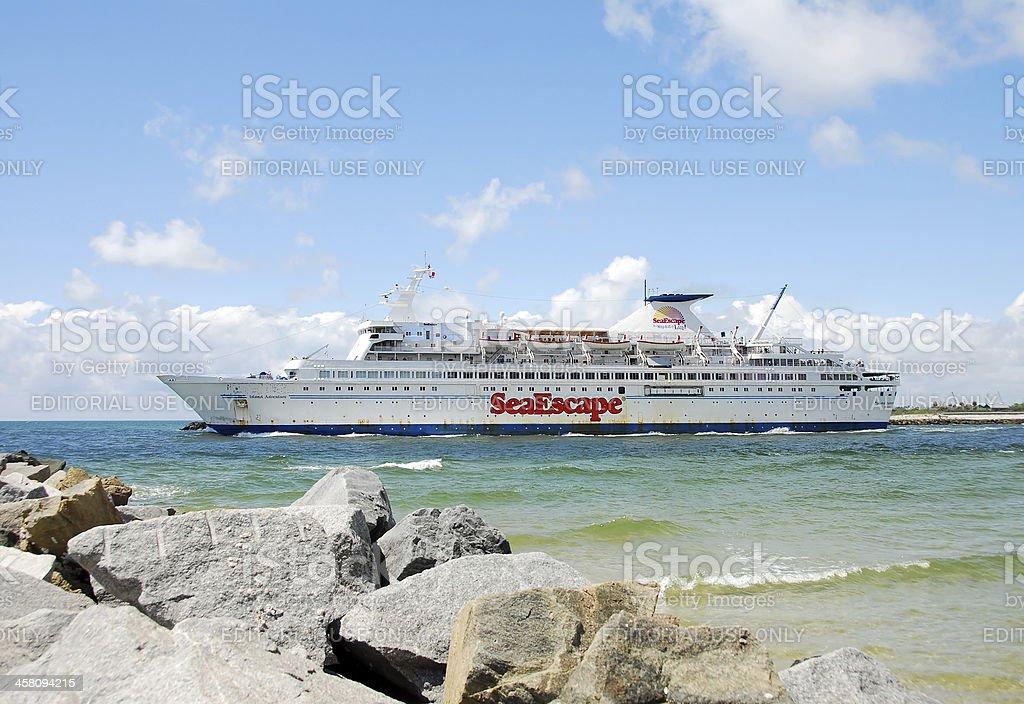 Casino gambling ship leaving port royalty-free stock photo
