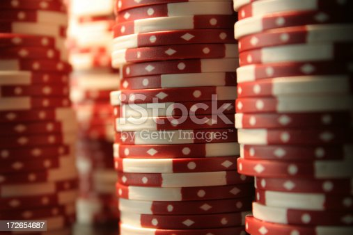 Stacks of casino chips with short depth of field.