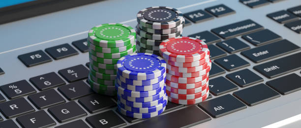 Casino poker chips stacks on a laptop keyboard. 3d illustration Online betting, gambling concept. Casino poker chips stacks on a computer laptop keyboard, high angle view. 3d illustration game of chance stock pictures, royalty-free photos & images