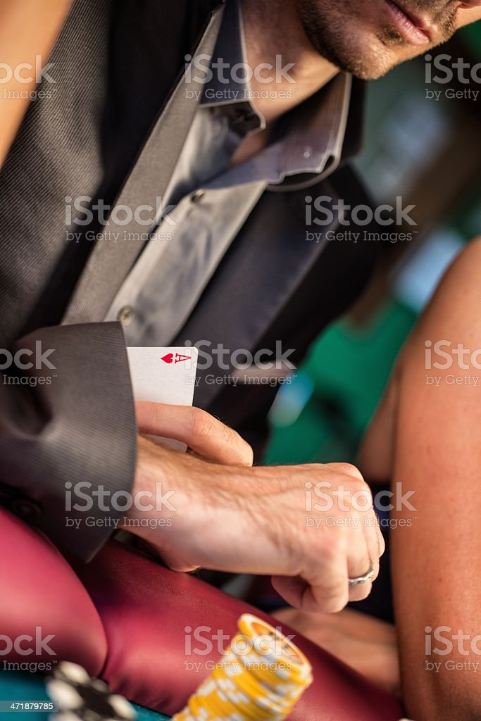 Casino. Poker Player with a Ace in his Sleeve royalty-free stock photo