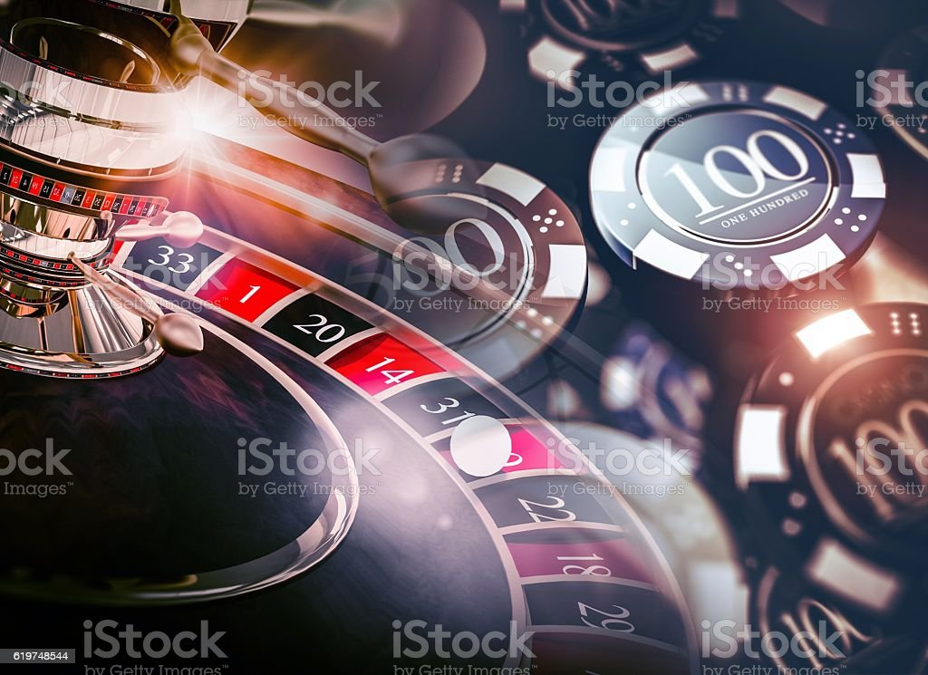 Casino Roulette Game Chips stock photo