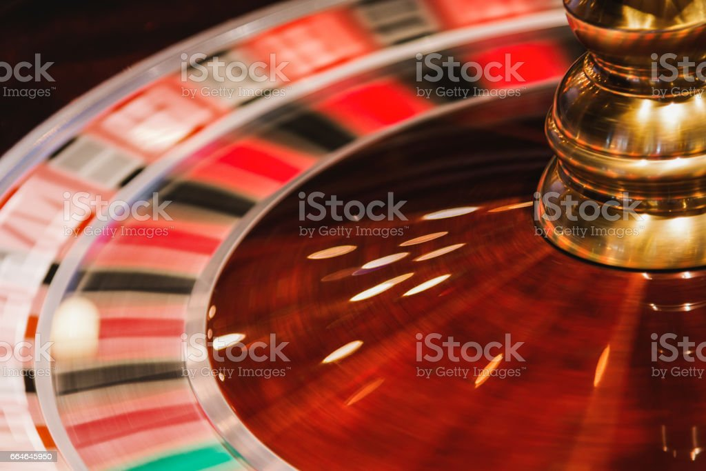 Casino roulette in motion. stock photo