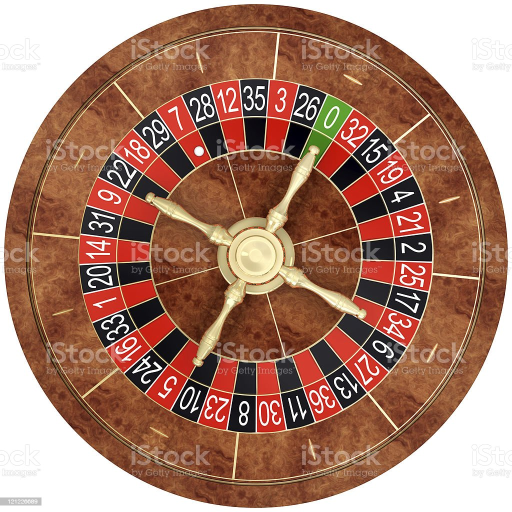 Casino roulette on white.Top view stock photo