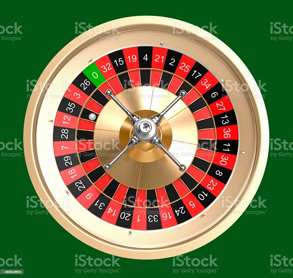 Casino roulette top view, isolated stock photo