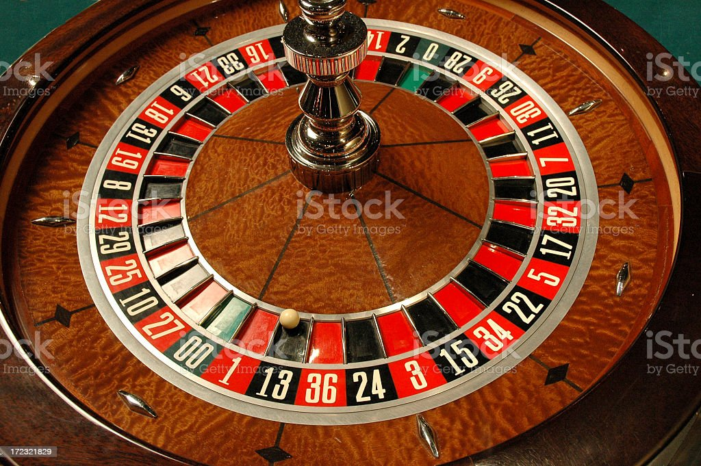 Casino roulette wheel close-up royalty-free stock photo