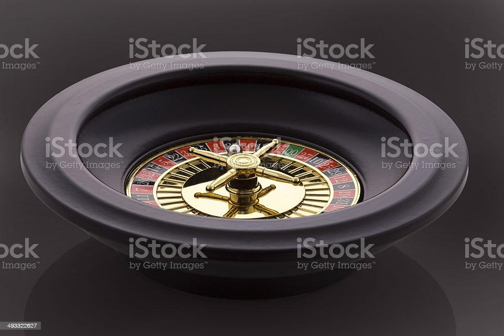 Casino Roulette Wheel isolated black Background stock photo