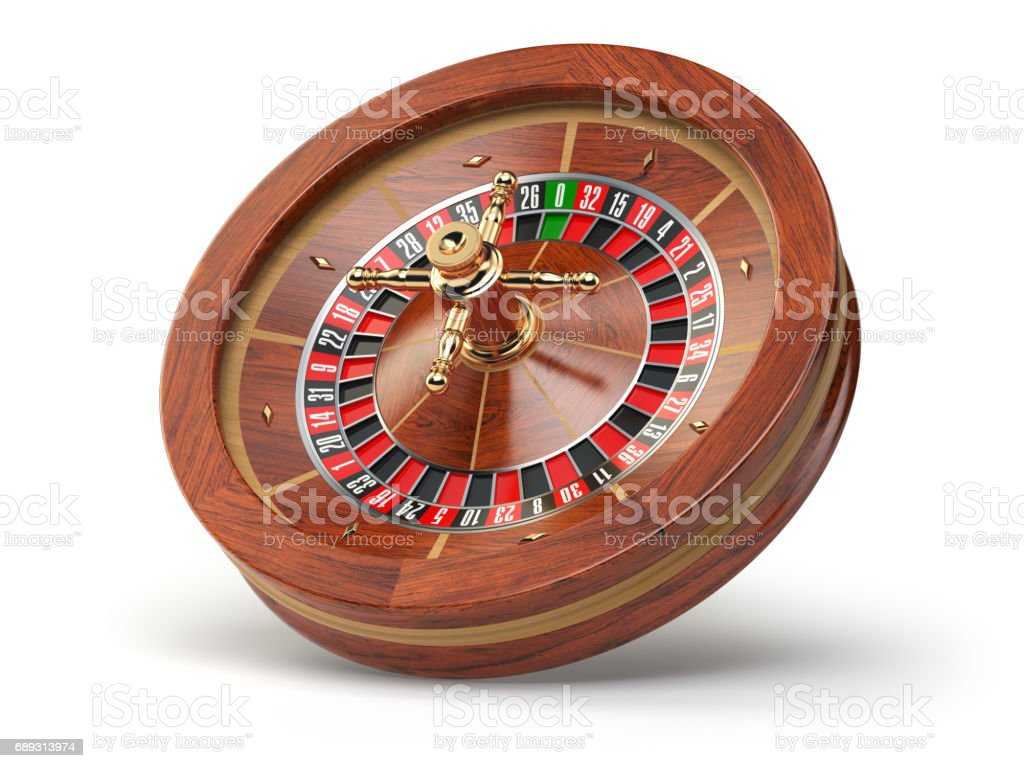 Casino roulette wheel isolated on white background. stock photo