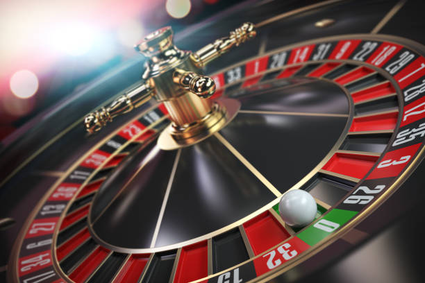 Casino roulette with ball on zero. stock photo