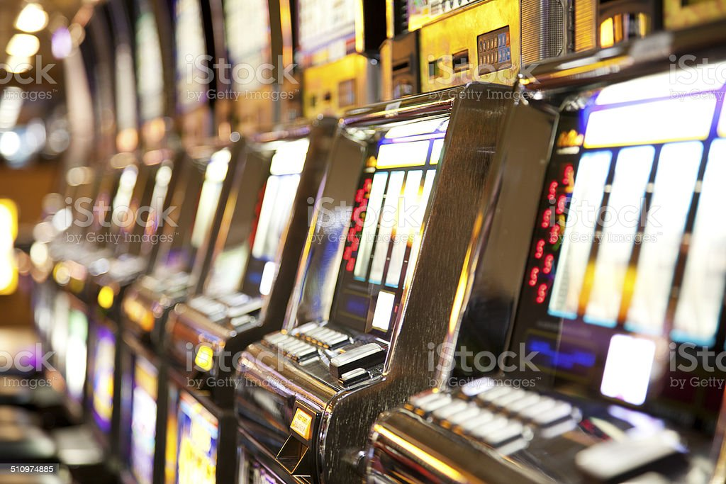 Casino: row of  slot machines stock photo