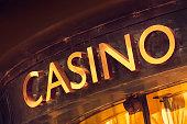 Casino sign above an entrance.