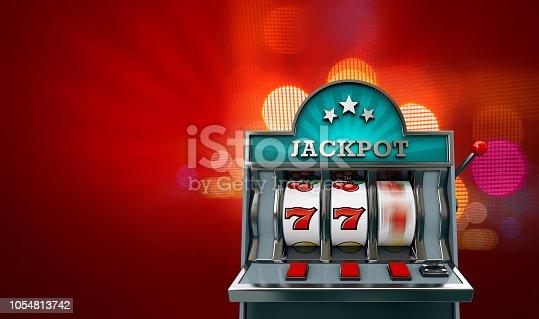 Casino slot machine, jackpot. 3d rendered illustration.
