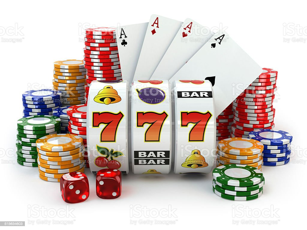 Casino. Slot machine with jackpot, dice, cards and chips. stock photo