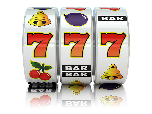Casino. Slot machine with jackpot. stock photo
