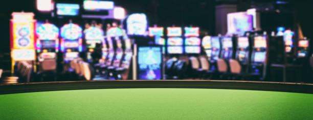 Casino Spielautomaten, grün Filz Roulette Tisch Nahaufnahme Ansicht. 3D-Illustration – Foto