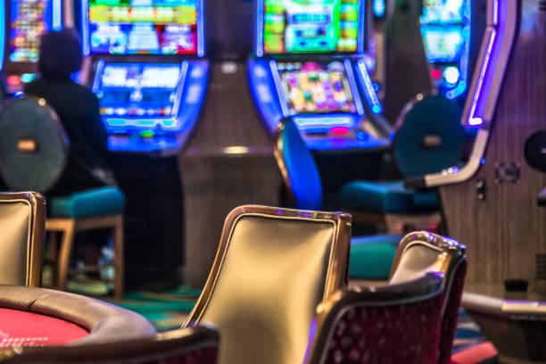 Casino slot machines stock photo