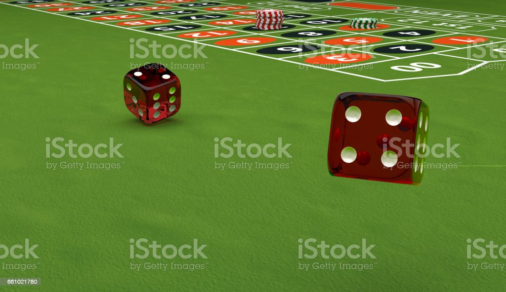 Casino theme, playing chips and dice on a gaming table, 3d illustration stock photo
