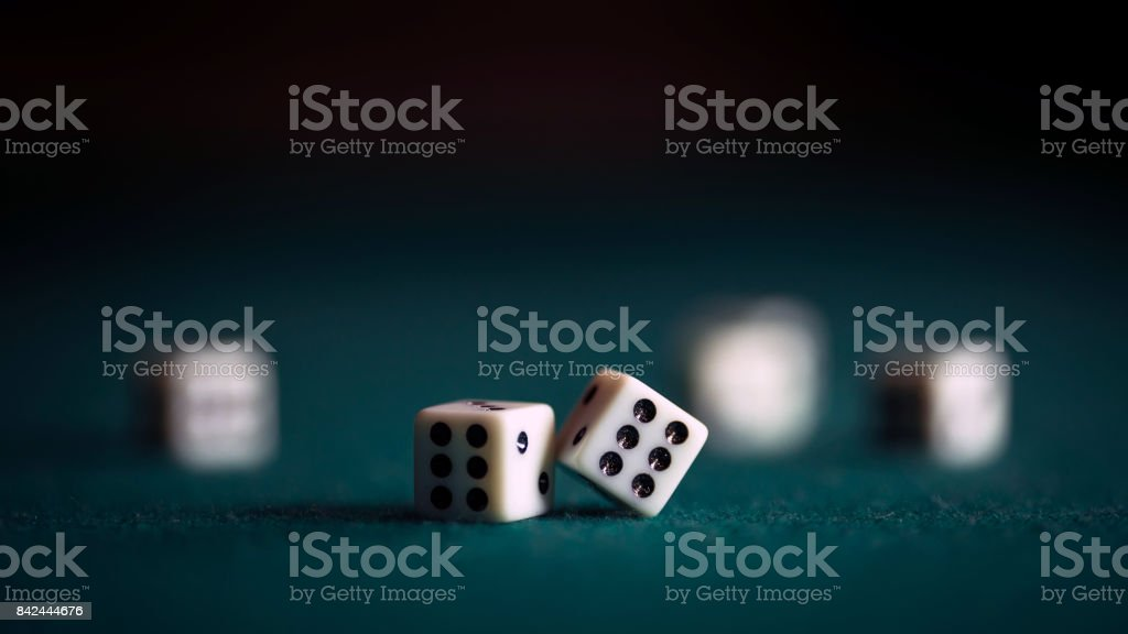 Casino theme. playing chips and dice stock photo