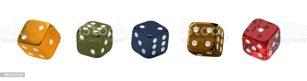Casino theme. Set of dices in different colors and materials stock photo