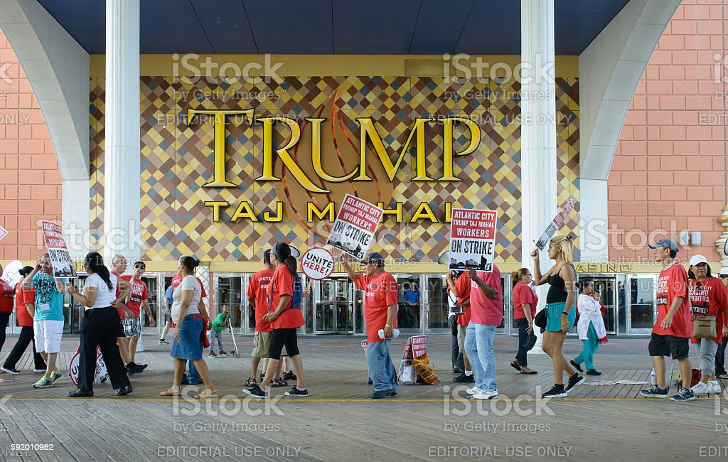 Casino workers on strike stock photo
