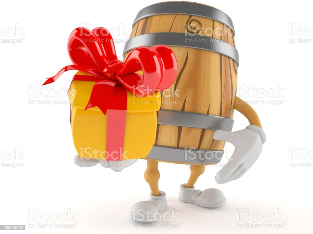 Cask character holding gift - Стоковые фото Алкоголь роялти-фри