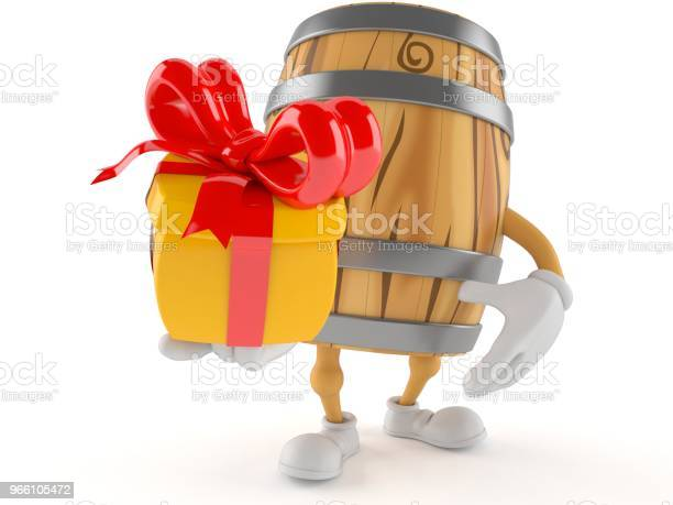Cask Character Holding Gift — стоковые фотографии и другие картинки Алкоголь - напиток