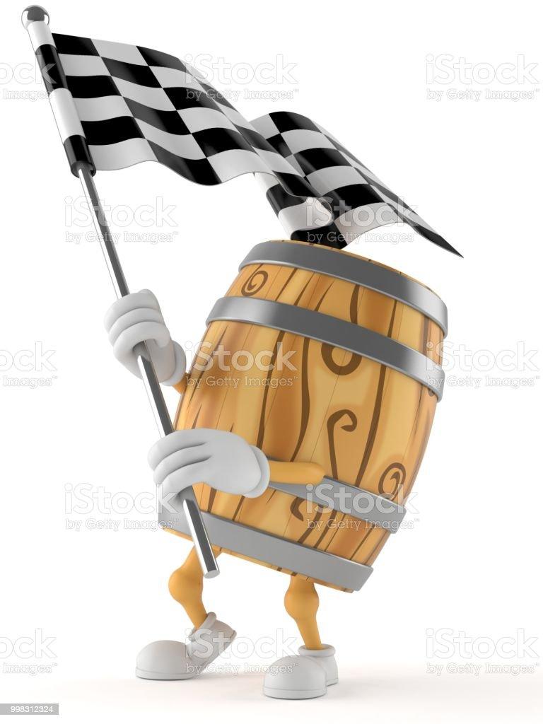 Cask character waving race flag stock photo