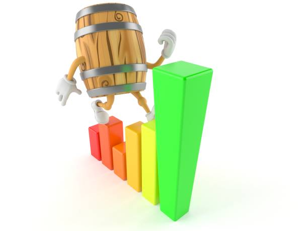 Cask character with chart stock photo