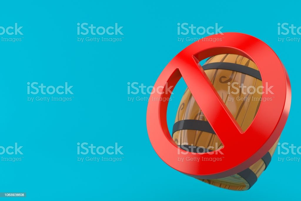 Cask with forbidden sign stock photo