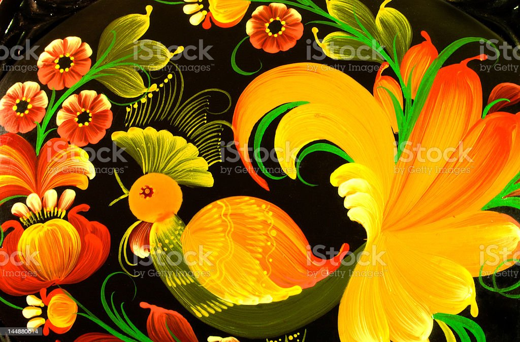 casket, Khokhloma painting handicraft. royalty-free stock photo