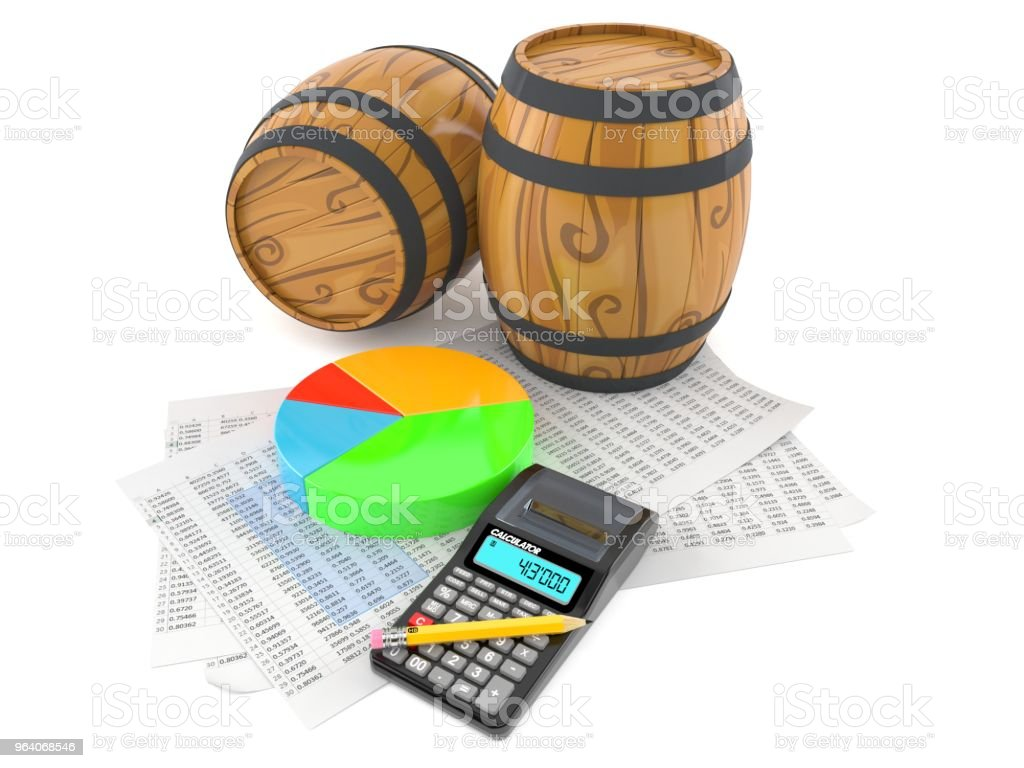 Casks with report and pie chart stock photo