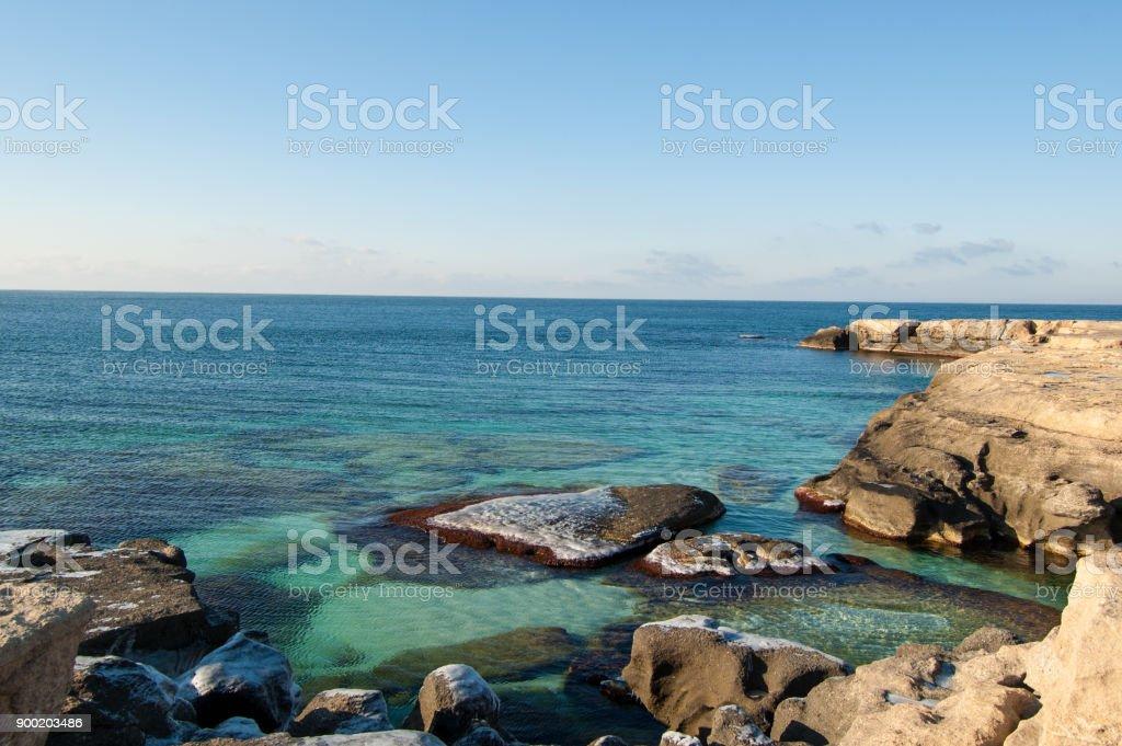 Kaspischen Meer - Klippe mit Felsen – Foto