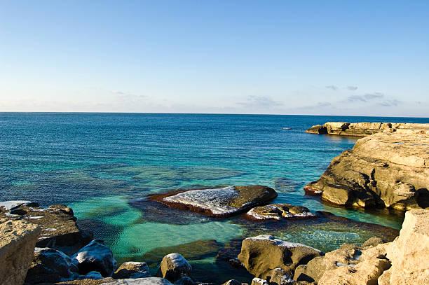 Caspian Sea with Stones stock photo
