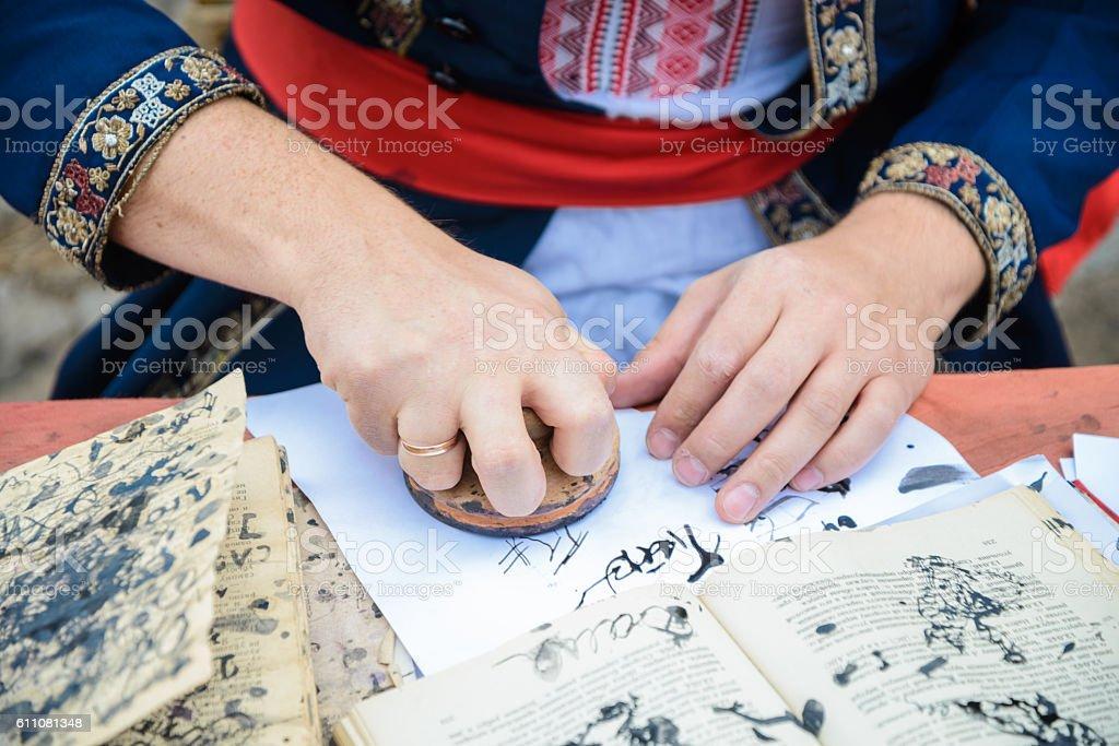 cassack writing docs stock photo