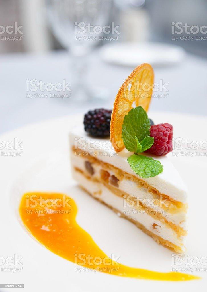 Cassata dessert on restaurant table royalty-free stock photo