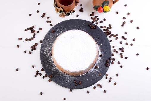 Cassata Siciliana Süßes Mit Ofengebackener Ricotta Mit Schokoladenchips Und Kaffeebohnen Stockfoto und mehr Bilder von Butter
