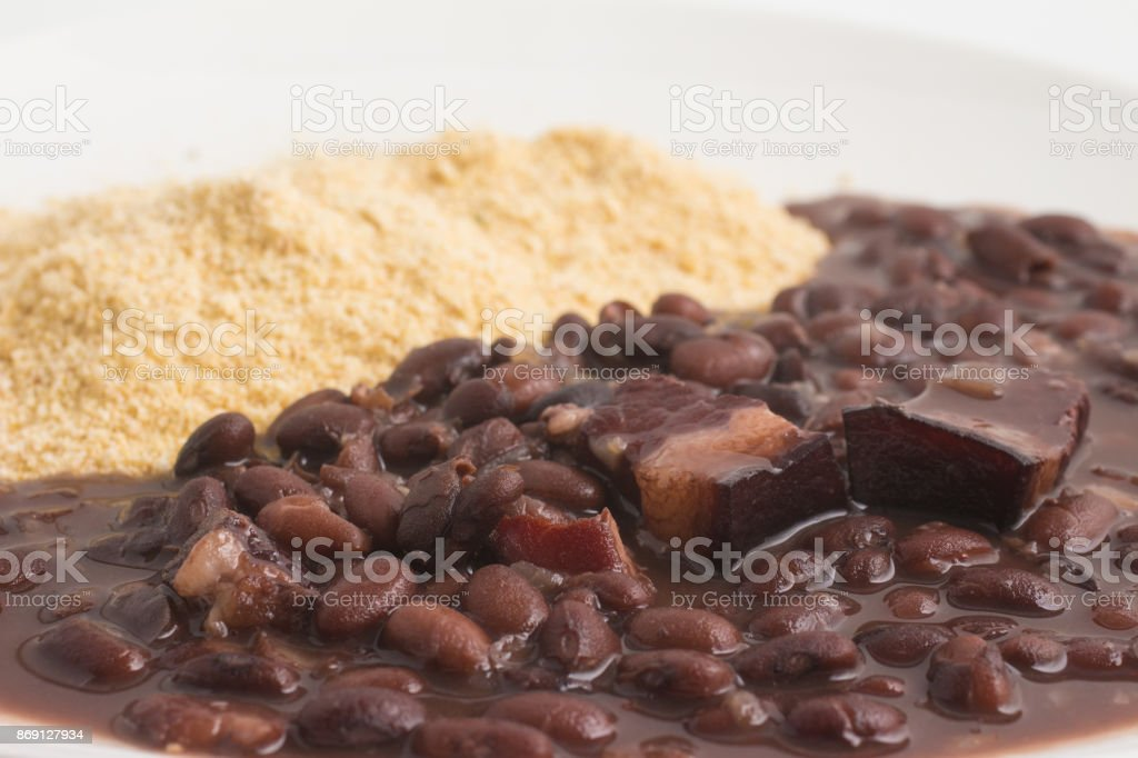 Cassava Farofa with Black Beans cooked. stock photo