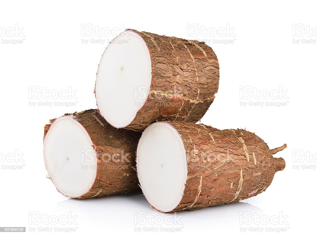Cassava isolated on a white background stock photo