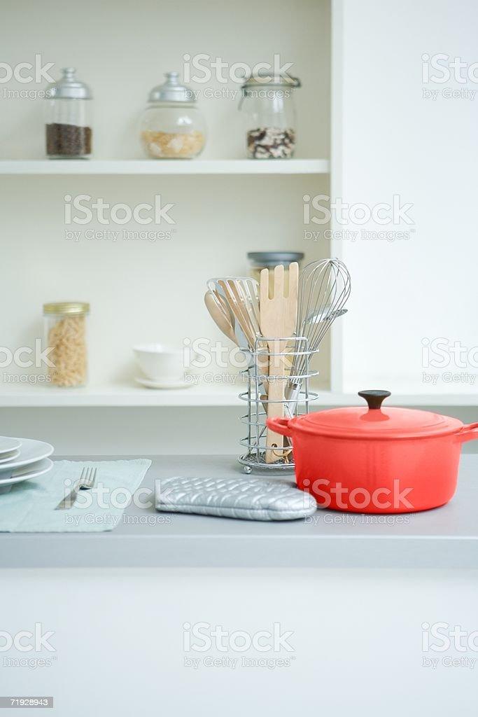 Casserole dish and kitchen utensils royalty-free stock photo
