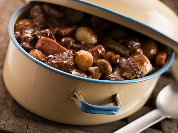 Casserole Dish With Beef Bourguignon  beef bourguignon stock pictures, royalty-free photos & images