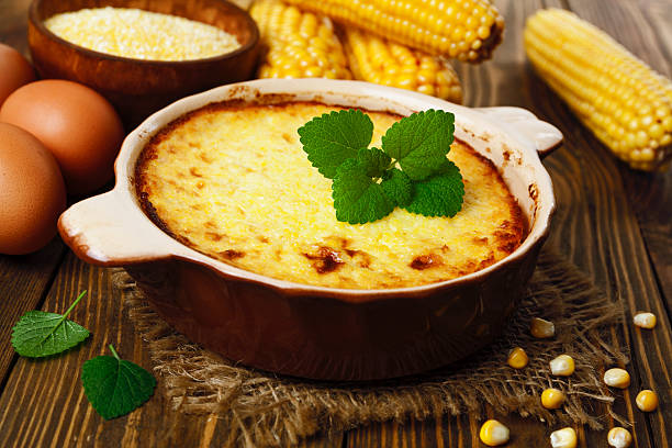 casserole of corn groats - casserole stock photos and pictures